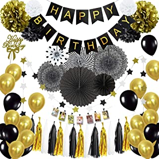 Musebits Black and Gold Birthday Party Decorations Essential 100Pcs, Including Cake Topper, Photo Clips, Paper Fans, Pom P...