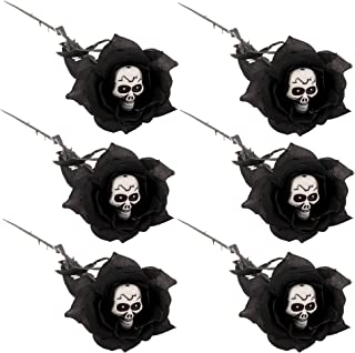 Black Stem Rose With Skull Center (6 Pack, 20 in long each) Plastic Flower Halloween Decor