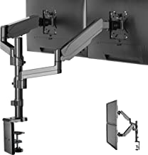 IMtKotW Dual Arm Monitor Desk Mount Stand,Height Adjustable Full Motion Gas Spring Monitor Mount Riser with C Clamp/Grommet Base Fits Two 17
