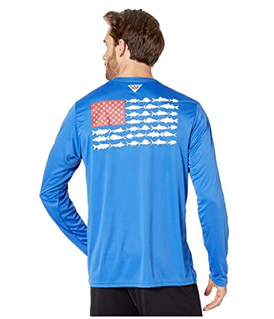 Columbia Terminal Tackle PFG Fishtm Long Sleeve Shirt (Vivid Blue/White) Men
