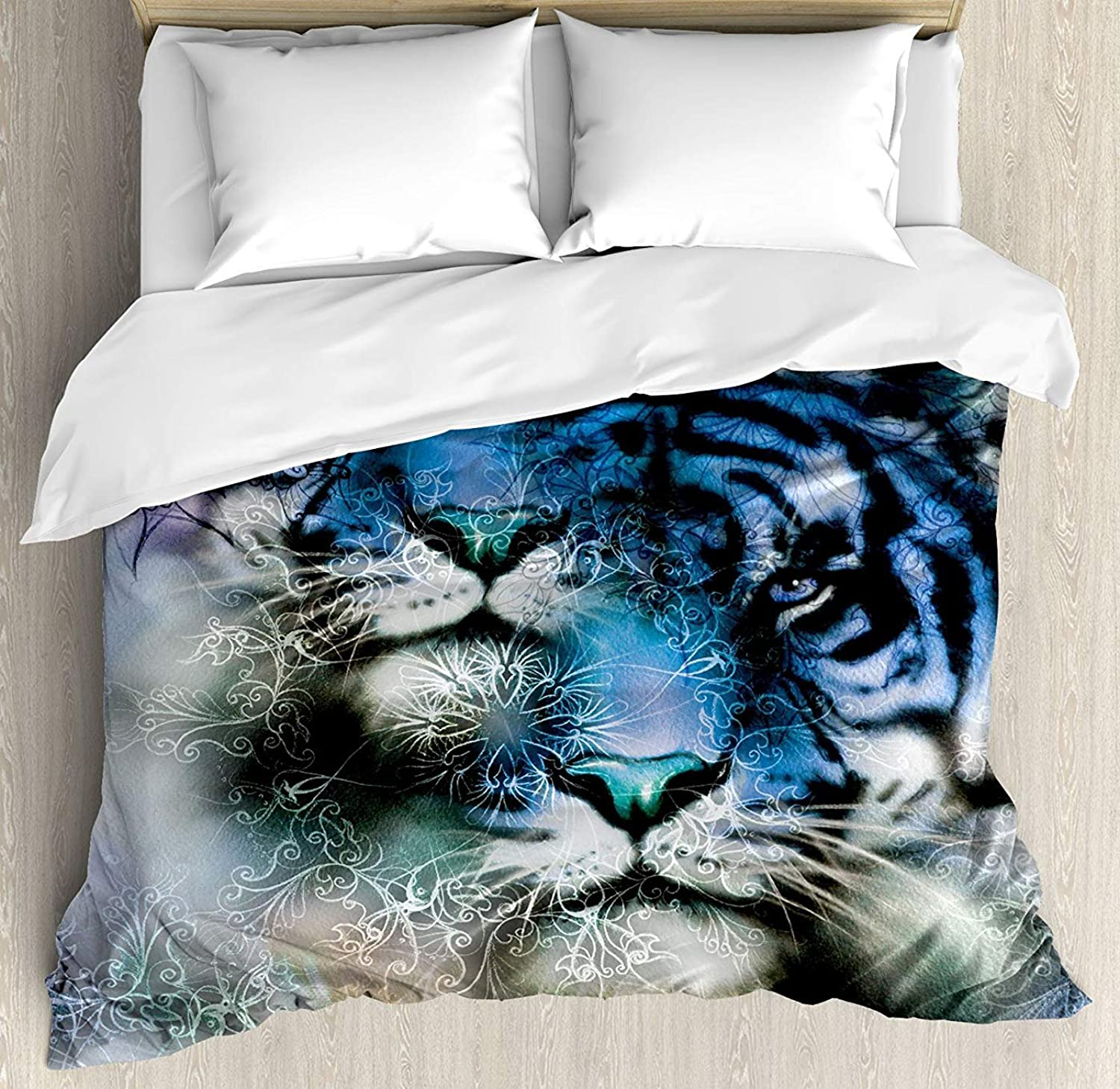 Animal Duvet Cover Set Queen Size, Two Tiger Safari Cat African Wild Furious Life Big Animals Artwork Print,Lightweight Microfiber Duvet Cover Sets, bluee Black and White