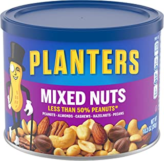 Planters Mixed Nuts (10.3 oz Canister, Pack of 4) - Variety Mixed Nuts with Less Than 50% Peanuts with Peanuts, Almonds, C...