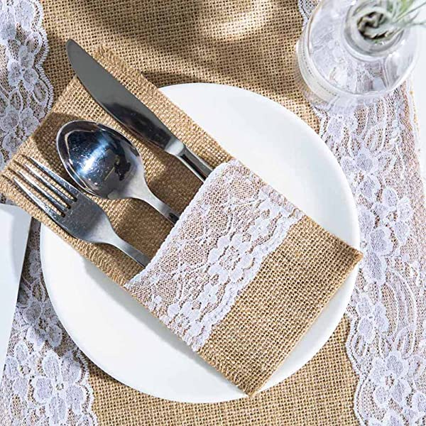 ARKSU Burlap Lace Utensil Holders 200 Packs Silverware Cutlery Pouch Knifes Forks Bag For Vintage Natural Wedding