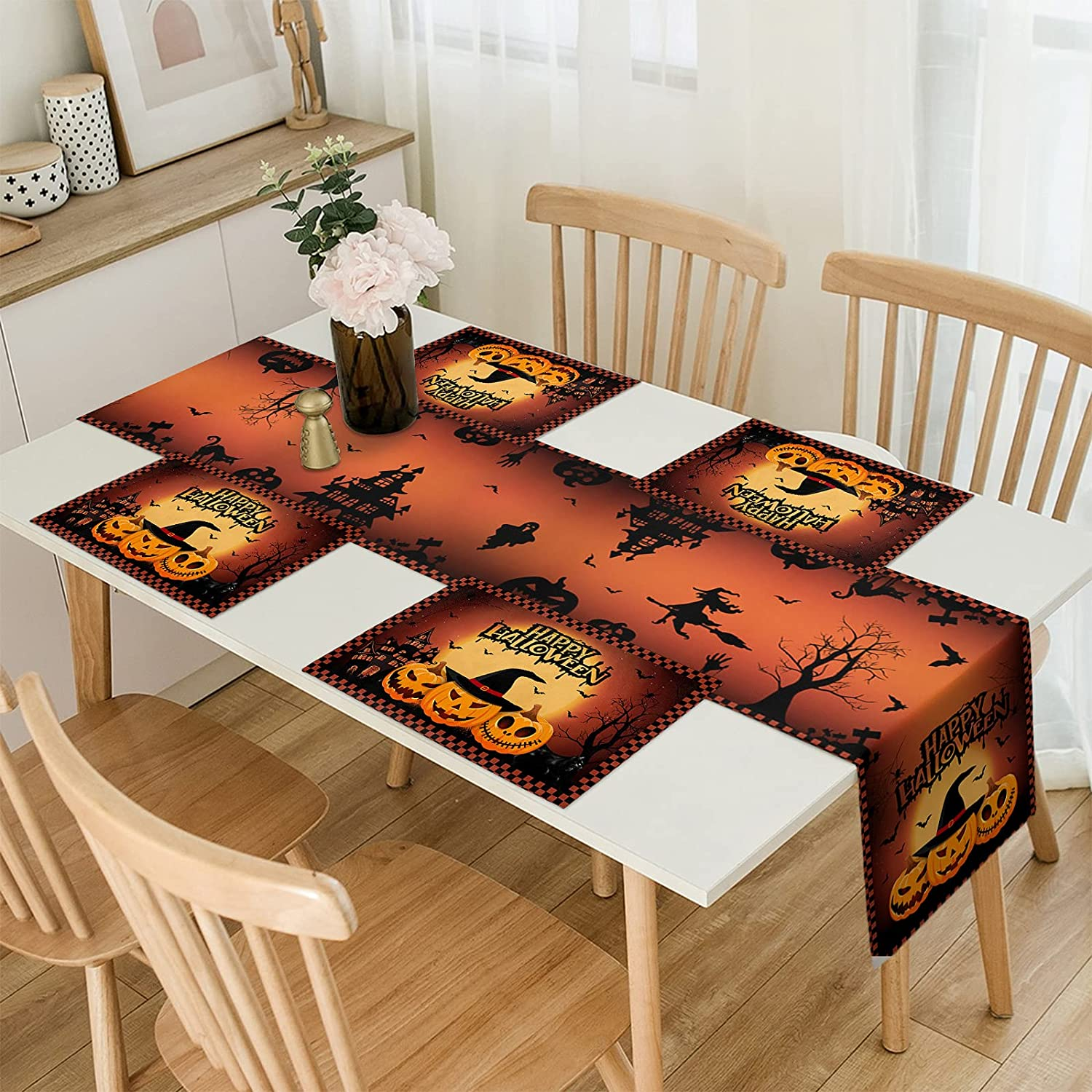 Halloween Max 79% OFF Table Runner with Placemats - 6 Save money Happy Set of