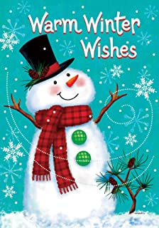 Custom Decor Warm Winter Wishes - Winter Snowman - Garden Size, Decorative Double Sided, Licensed and Copyrighted Flag - Printed in The USA Inc. - 12 Inch X 18 Inch Approx. Size