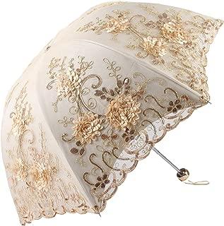 Vintage Lace UV Sun Parasol Folding 3D Flower Embroidery Umbrella H1620 Yellow