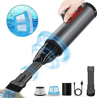 REEXBON Aspiradora Coche Potente Sin Cable 6000 PA, Aspirador Mano Sin Cable Potente, Carga r?pida USB, con Filtro Lavable, para Oficina Hogar y Coche