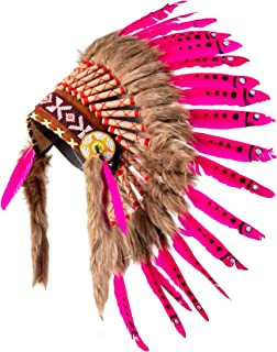 Pink Pineapple Handcrafted Native American Inspired Small Feather Headdress, Hot Pink with Black Spots