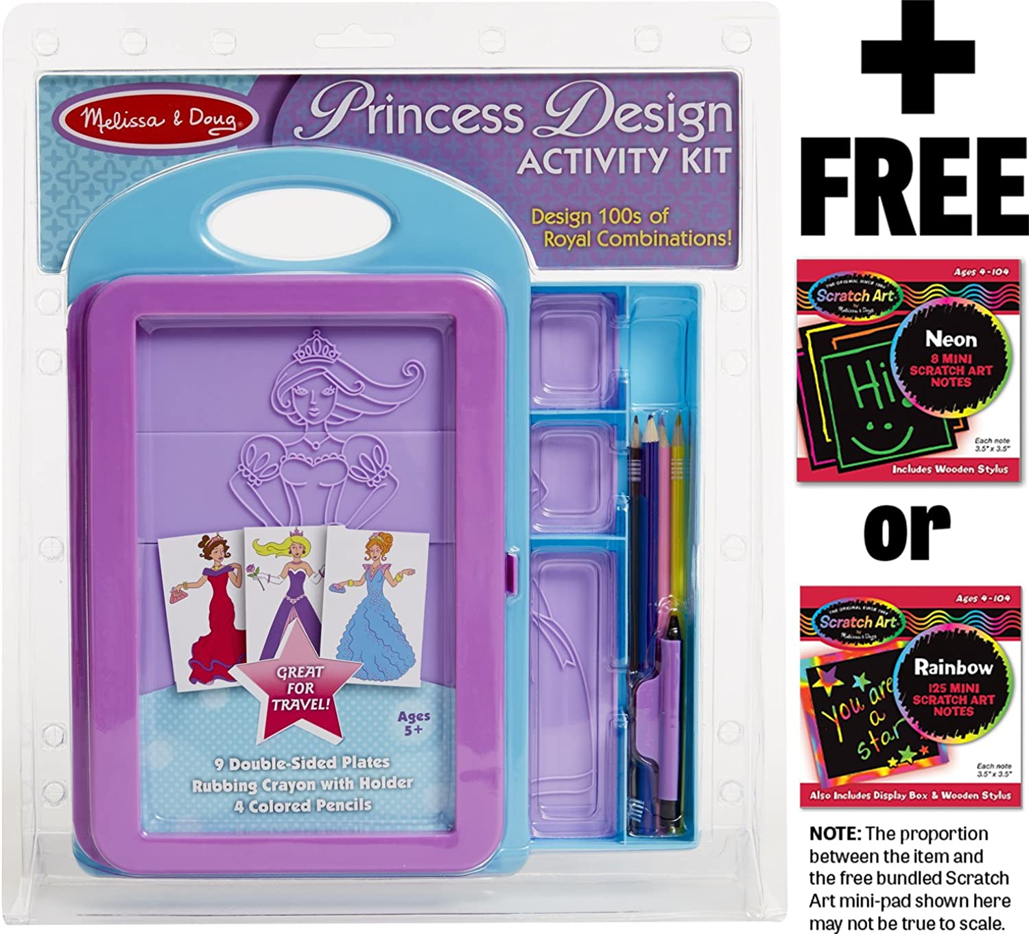Princess Design Activity Kit w  9 Double Sided Textured Fashion Plates + FREE Melissa & Doug Scratch Art MiniPad Bundle [49092] by Melissa & Doug