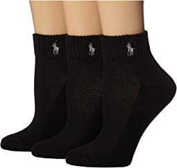 LAUREN Ralph Lauren - Cushion Foot Mesh Top Cotton Quarter 3 Pack