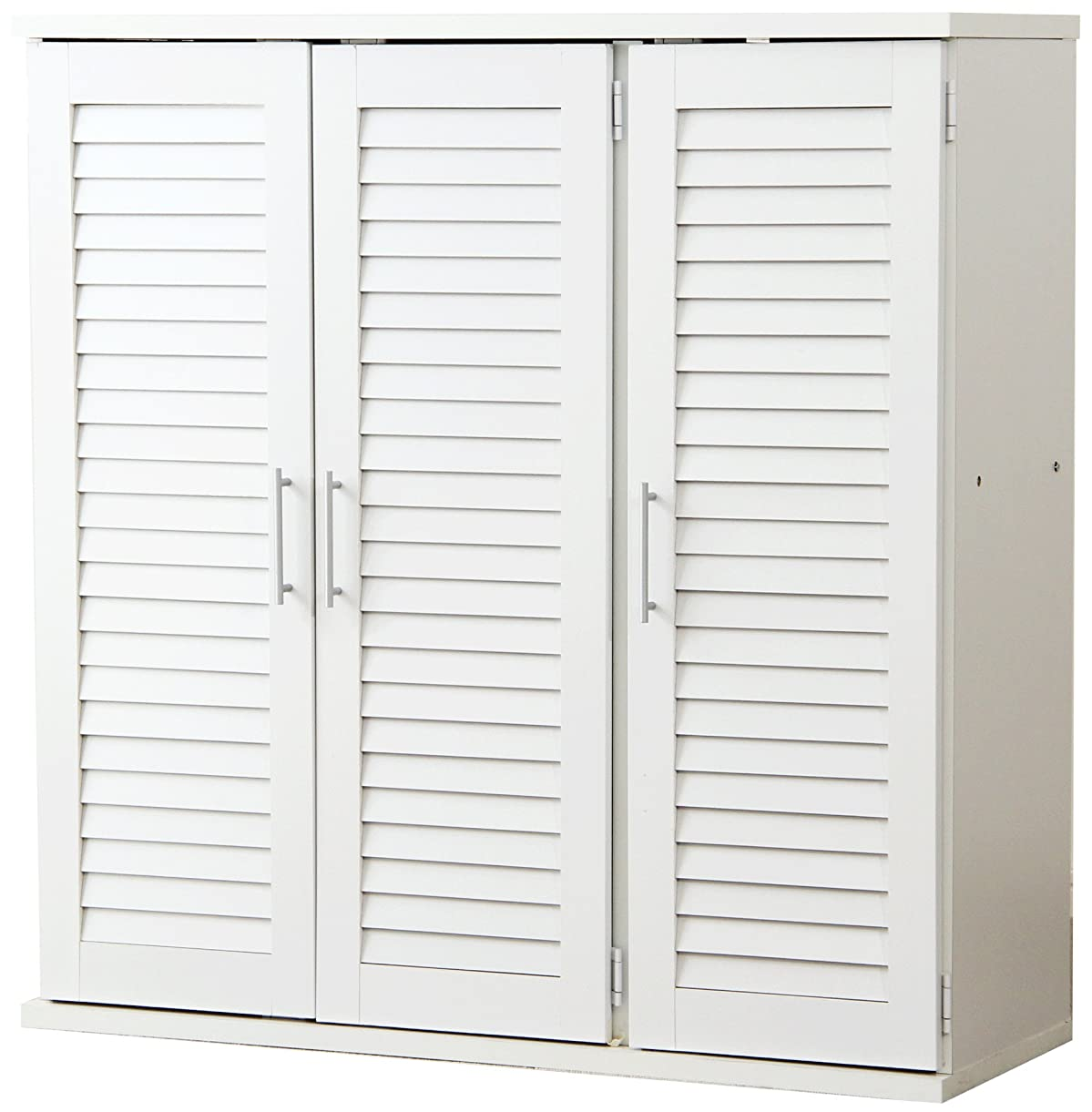 年きょうだいにもかかわらずSEMI-SH ルーバー式 シューズボックス 幅90cm (ホワイト) 下駄箱 玄関収納 ルーバー扉 SH-SLB-9090