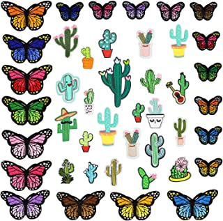 43pcs Butterfly Iron On Patches Cactus Applique Patch Embroidered Accessories Assorted Size Decoration Patches for DIY Jeans Jacket Clothing Handbag Shoes Caps Sew On
