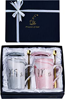 Jumway Mrs and Mrs Coffee Mugs Lesbian Girlfriend Anniversary Gifts Wedding Gifts Unique Gift Mugs for Lesbian Couple Gifts
