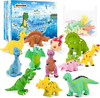 Gizmovine Dinosaur Baby Bath Toys for Toddlers, 12 Pack Bathtub Toys for Boys and Girls, Safe Dinosaur Figures Playset Water Squirts Toys for Bathtub with Bath Toy Organizer