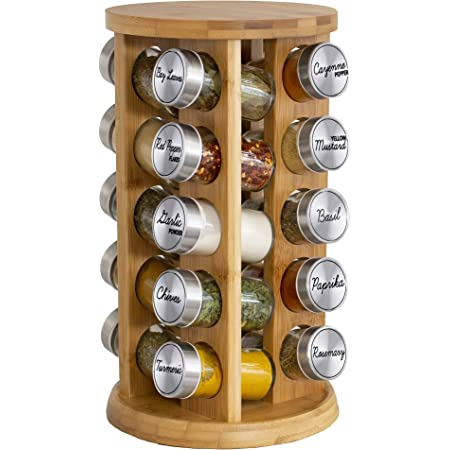 Orii Bamboo Rotating 20 Jar Spice Rack Filled with Spices - Rotating Standing Rack Shelf Holder & Countertop Spice Rack Tower Organizer for Kitchen Spices, Free Spice Refills for 5 Years