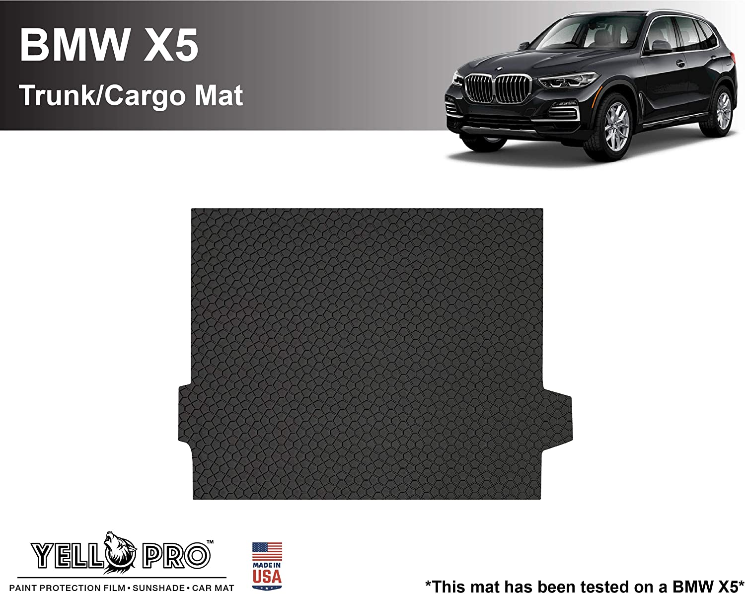 Floor Mat for BMW X5 SUV 3pcs YelloPro Custom fit Heavy Duty Front /& 2nd Row All Weather Anti-Slip Black Rubber Accessories 2019 2020 2021 Made in USA