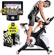Sportstech SX500 Bicicleta Indoor con Control de Aplicaciones por Smartphone, Soporte alcochado para Brazos, pulsometro Compatible, Pedales universales con Sistema de Click SPD - con Kinomap & eBook