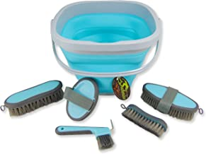 Southwestern Equine Collapsible Grooming Kit 10 Liter Bucket and 5 Grooming Tools