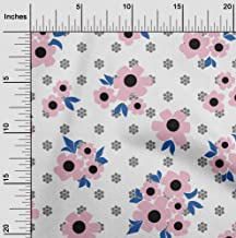 oneOone Velvet Light Pink Fabric Floral & Geometric Sewing Fabric by The Yard Printed DIY Clothing Sewing Supplies 58 Inch...