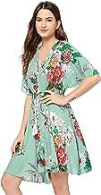 Milumia Women's Boho Button Up Split Floral Print Flowy Party Dress