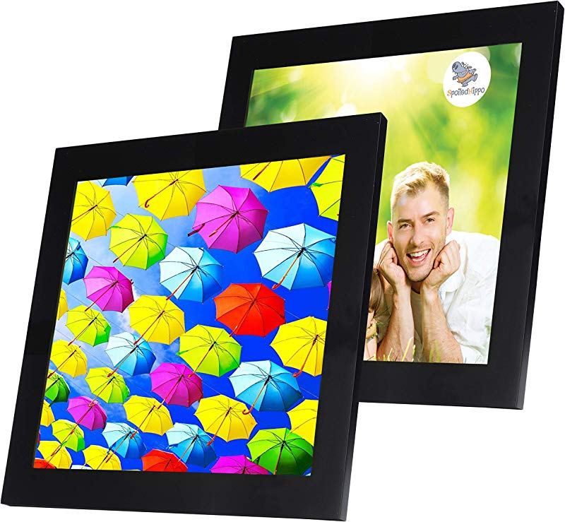 SpoiledHippo 10x10 Picture Frame Black 2 Pack Square Wood Photo Frames With Glass Cover Made To Display 10 By 10 Inch Photos W O Mat Or 7 5x7 5 And 4x4 With Mats Hanging Or Standing