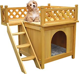Bartfort Puppy House Wooden Little Dog House Deluxe Pet Home Indoor/Outdoor Wood Cat House Shelter(Yellow)