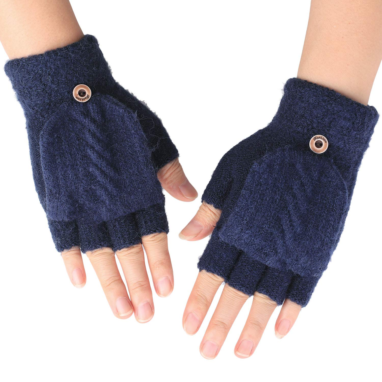 Zeltauto Girls Knitted Mitten Glove Plush Lining with Strap
