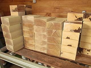"""Maple Hickory Red Elm Honey Locust Lathe Turning Exotic Wood Bowl Blanks Blocks, 6"""" X 6"""" X 3"""", Set of 4"""