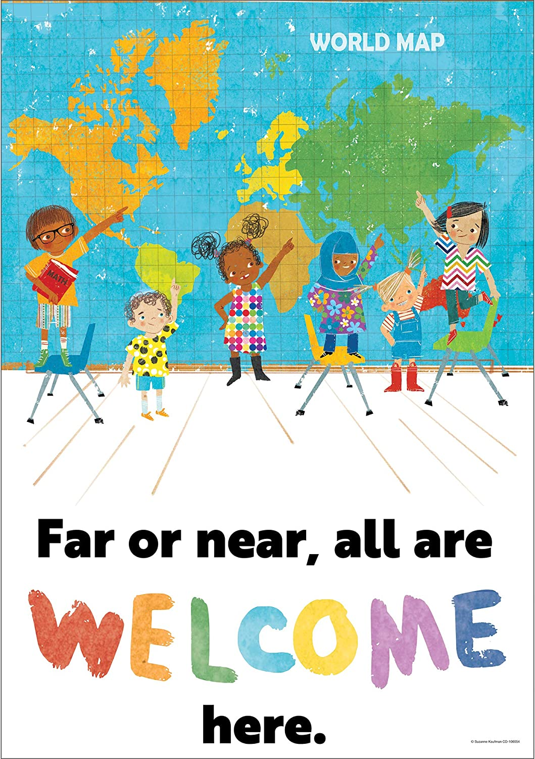 All Are Welcome Here Poster—Motivational Art Bullet Wall Same day shipping Ranking TOP5 or