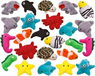 Kicko Sea-Life Plush Toys - 3 Inches - 24 Assorted Pieces - for Kids, Babies, Adults, Decorations, Bedtime, Sleep, Play, a...