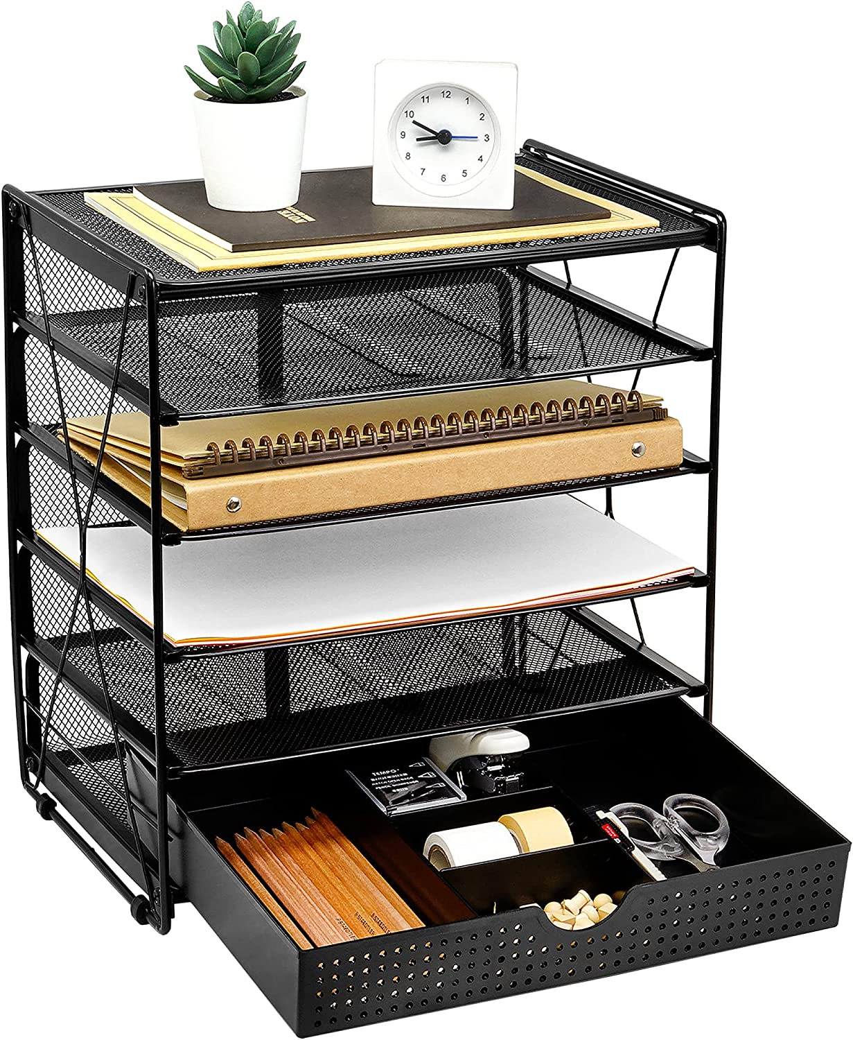 CAXXA 5 Tier Tampa Mall A surprise price is realized Mesh Letter Tray Pape Desk File Organizer Desktop