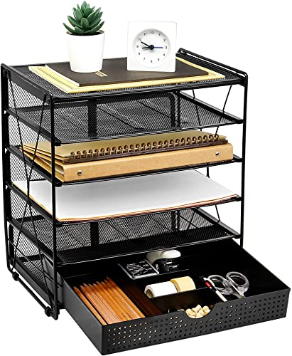 lowest CAXXA 5 Tier Mesh Letter outlet sale Tray, Desk File Organizer, Desktop Paper 2021 Tray Holder with Drawer, Black online