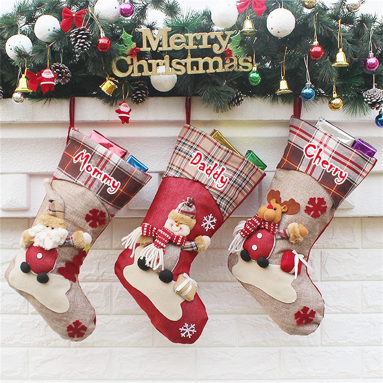 Rualight Custom Christmas Stockings Elderly C Stereo OFFer Dolls Plaid Import