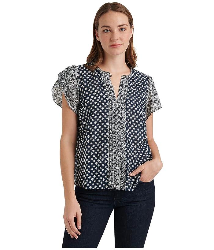 Lucky Brand  Tulip Sleeve Crew Neck Pin Tuck Top (Navy Multi) Womens Clothing