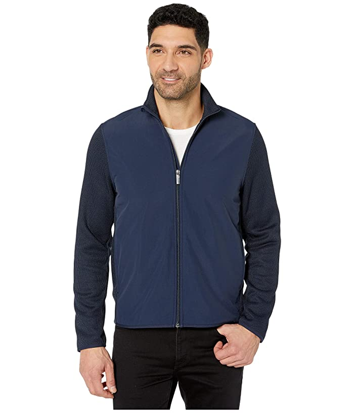 Perry Ellis  Solid Stretch Full Zip Fleece Long Sleeve Shirt (Dark Sapphire) Mens Clothing