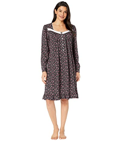 Eileen West Cotton Peached Jersey Knit Long Sleeve Short Nightgown (Black Ground/Multi Buds and Berries) Women