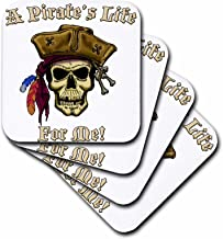 3dRose cst_22843_1 PIRATE SKULL with a Pirate s Life for Me Soft Coasters, Set of 4