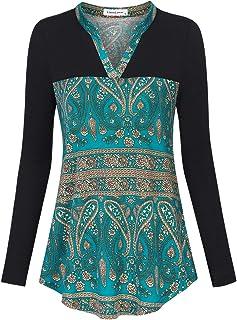 Liamluna Women's Henley Neck Stitching Color Plaid Tunic Top Shirt