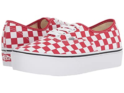 Vans Authentic Platform 2.0 ((Checkerboard) Racing Red/True White) Skate Shoes