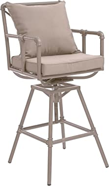 Christopher Knight Home Northrup Outdoor Pipe Adjustable Barstool, Grey And Brass