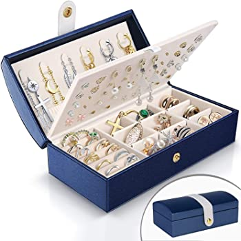 Travel Jewelry Box for Women, JOMARTO Two-Layer Jewelry Display Case PU Leather Jewelry Organizer for Necklace Earring Rings Compact Portable Jewelry Box with Button- Navy Blue