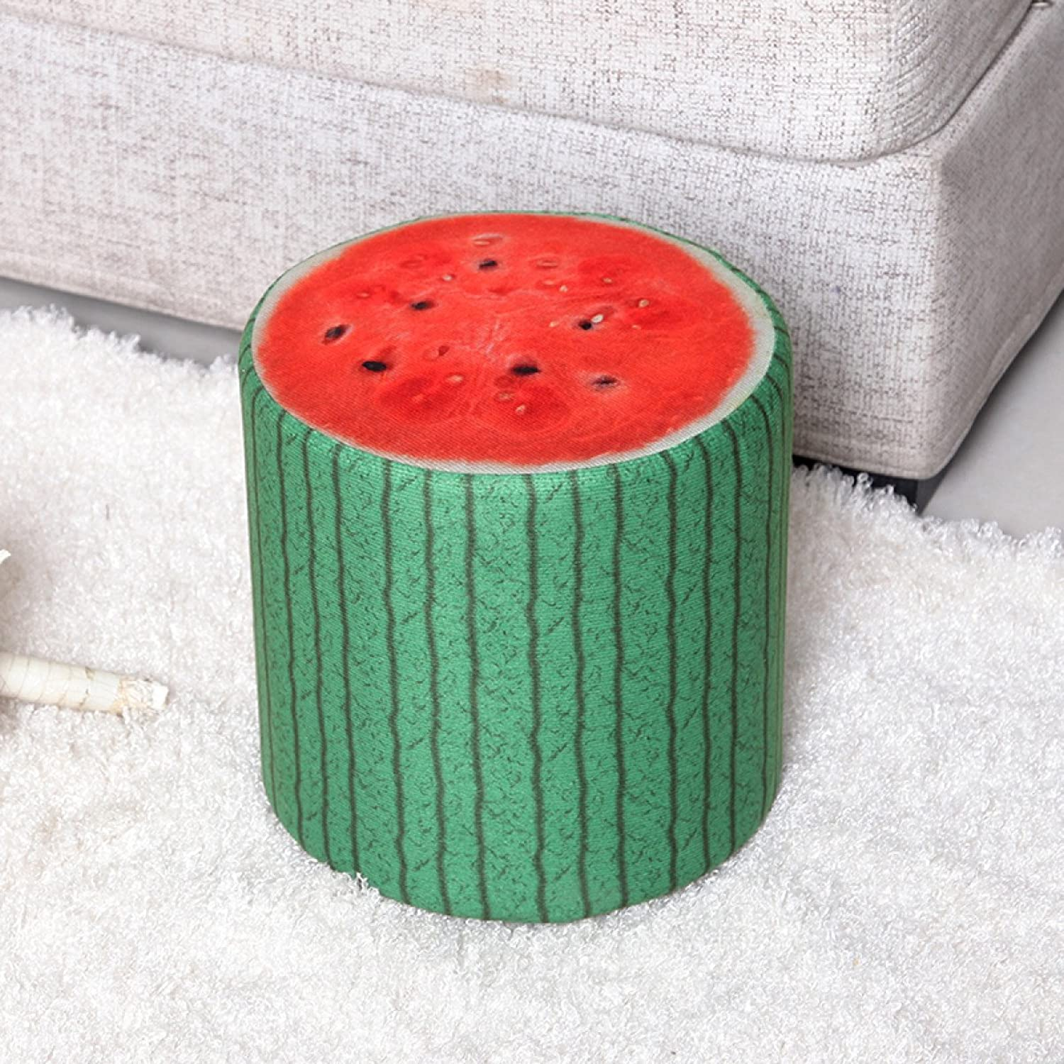 Solid Wood Sofa Fabric Stool Creative Pattern Round Sitting Fashion Home Bedroom Living Room Bench,H