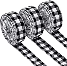 3 Rolls Gingham Ribbon Black and White Plaid Burlap Ribbon Christmas Wired Edge Ribbons for Christmas Gift Wrapping, Craft...