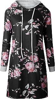 7TECH Hooded Sweater Fashion Print Dress Black