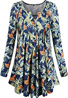 ZKHOECR Womens V Neck Long Sleeve Henley Floral Printed Pleated Tunic Top Blouse