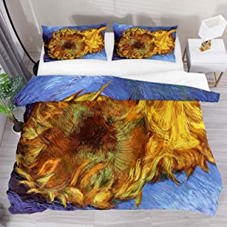 Duvet Cover Set, Single Bedding Set 3 Pieces, Oil Painting Art Abstract Sunflower Comforter Sheet Set with Pillow Shams Ro...