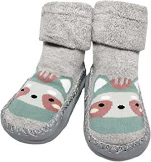 Baby Toddler Boys Girls Winter Non-slip Animal Slipper Shoe Socks Moccasins