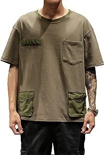 LEFTGU Men's Multiple Pockets Short-Sleeve Fashion Loose Style t-Shirt