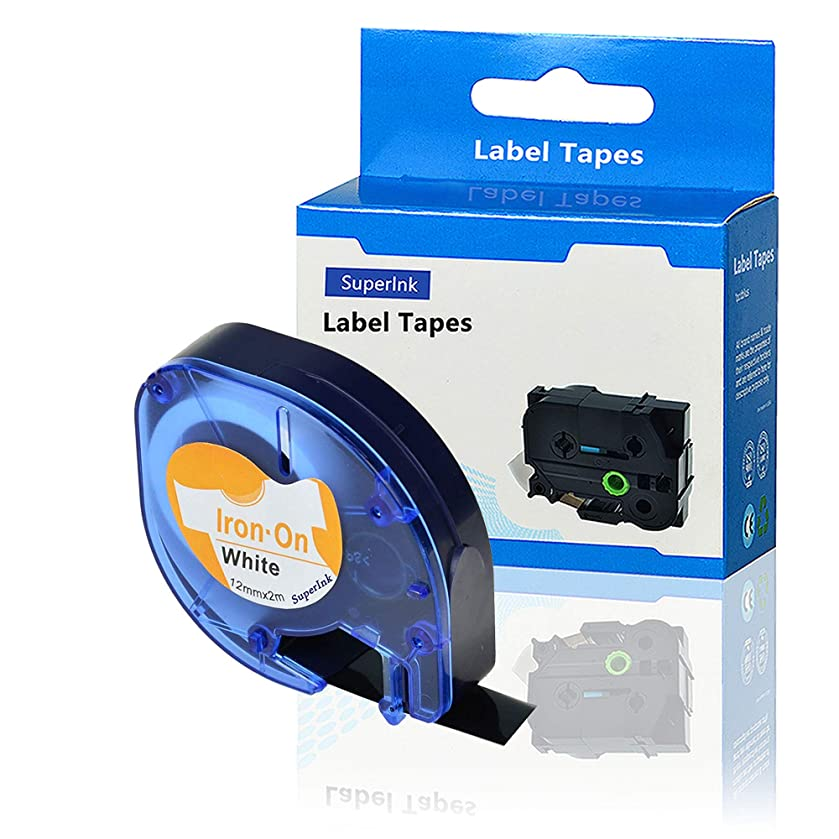 SuperInk 1 Pack Compatible DYMO LetraTag 18771 LT18771 Iron-On Fabric Label Black on White Tape Cassette (1/2 Inch x 6.5Feet 12mm x 2m) LetraTag XR QX50,LetraTag Plus LT100H LT100T Label Maker