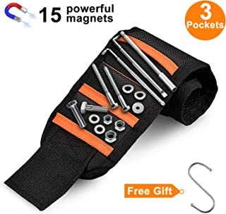 Magnetic Wristband with 15 Powerful Magnets, Magnetic Tool Wristband Tool Belt for Holding Tools with 3 Pockets Magnetic Wristband for Screws, Nails, Drilling Bits and Small Tools